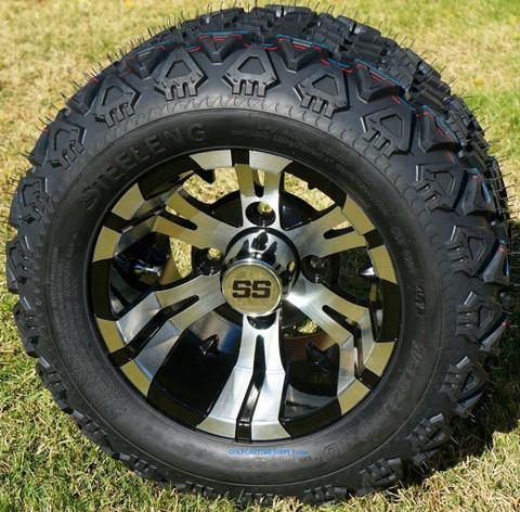 """10"""" VAMPIRE Golf Cart Wheels and 18x9-10 DOT All Terrain Golf Cart Tires Combo"""