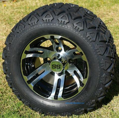 """10"""" BULLDOG Golf Cart Wheels and 18x9-10 DOT All Terrain Golf Cart Tires Combo"""