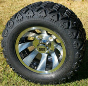 """10"""" REVOLVER Golf Cart Wheels and 18x9-10 DOT All Terrain Golf Cart Tires Combo"""
