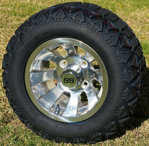 "10"" SILVER BULLET Golf Cart Wheels and 18x9-10 DOT All Terrain Golf Cart Tires Combo"