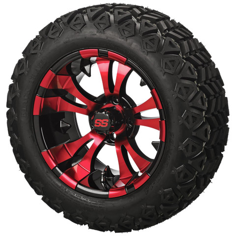 "14"" VAMPIRE RED/Black Aluminum Wheels and 23x10-14"" All Terrain Tires Combo"