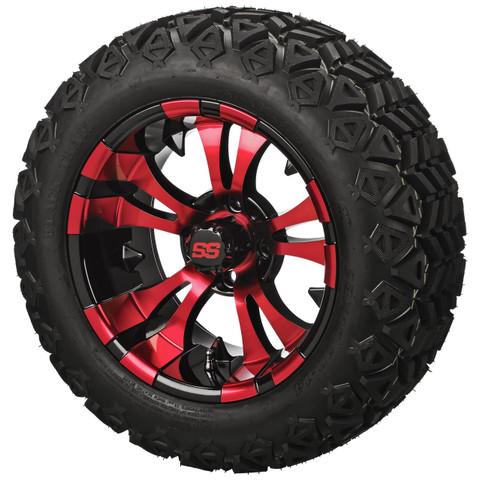 "14"" VAMPIRE RED/Black Aluminum Wheels and 23x10-14"" All Terrain Tires Combo"