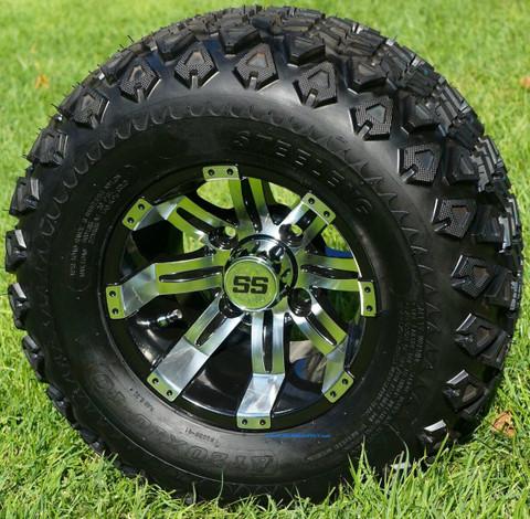 "10"" Tempest Golf Cart Wheels and 20x10-10 DOT All Terrain Tires - Set of 4"