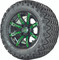 "12"" Madjax ILLUSION Wheels and 23"" All Terrain Golf Cart Tires Combo - Set of 4 - GREEN"