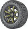 "12"" Madjax ILLUSION Wheels and 23"" All Terrain Golf Cart Tires Combo - Set of 4 - YELLOW"