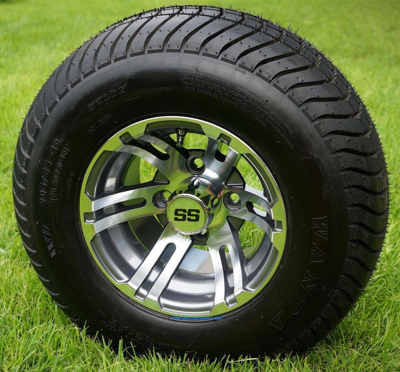 10 U0026quot  Bulldog Gunmetal Golf Cart Wheels And 205  65