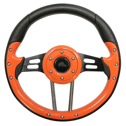 "EZ-GO 13"" Aviator-4 Orange Grip Golf Cart Steering Wheel w/ Black Spokes"