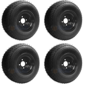 Slasher 18x8.50-8 GTX OEM BLACK Golf Cart Wheels and Tires Combo