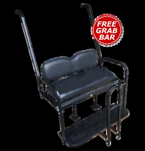 Yamaha G14 / G16 / G19 / G22 Golf Cart Rear Seat Kit - BLACK - Flip Seat w/ Cargo Bed & Free Grab Bar