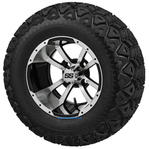"""12"""" STORM TROOPER Machined/ Black Wheels and 23x10.5-12"""" DOT All Terrain Tires Combo"""