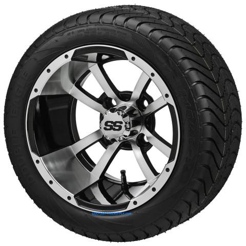 "12"" STORM TROOPER Machined/Black Wheels and 215/35-12"" ELITE DOT Tires - Set of 4"