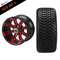 """12"""" TEMPEST Machined/ Anodized Wheels and 215/35-12 Low Profile DOT Tires Combo - RED"""