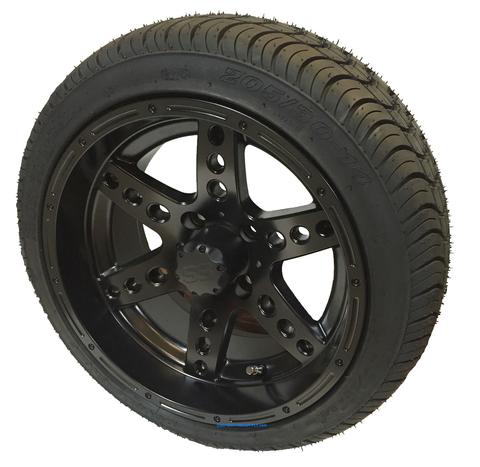 "14"" DOMINATOR Black Aluminum Wheels and 205/30-14"" DOT Tires Combo"