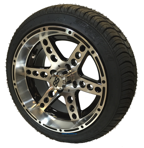 "14"" DOMINATOR Machined/Black Aluminum Wheels and 205/30-14"" DOT Tires Combo"