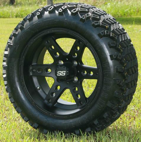 "14"" DOMINATOR Matte Black Wheels and 23x10-14"" DOT All Terrain Tires Combo"