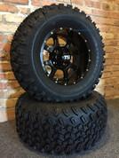"12"" STALKER Black Aluminum wheels and 23"" All terrain tires combo"