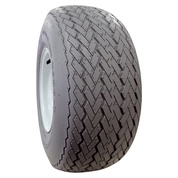 """RHOX 18x8.5-8"""" Gray Non-Marking Golf Cart Tires and 8"""" White Steel Wheels Combo"""