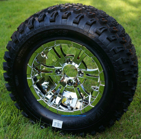 "12"" VAMPIRE Chrome Wheels and 23"" All Terrain Tires Combo"