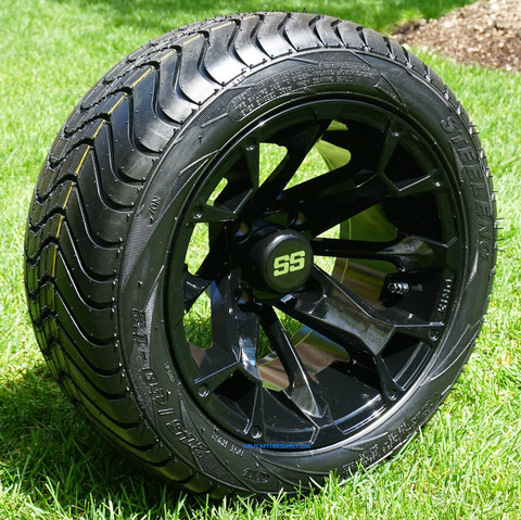"""12"""" BLACKJACK Wheels and Low Profile Golf Cart Tires"""