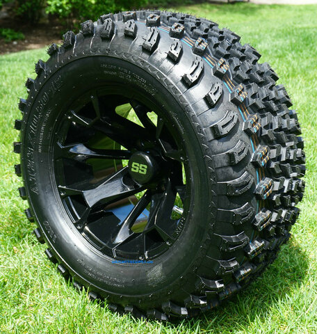 "12"" BLACKJACK Gloss Black Aluminum wheels and 23"" All terrain tires combo"