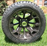 "12"" BLACKJACK Metallic Bronze Gold Cart Wheels and 215/40-12 DOT Low Profile Golf Cart Tires"