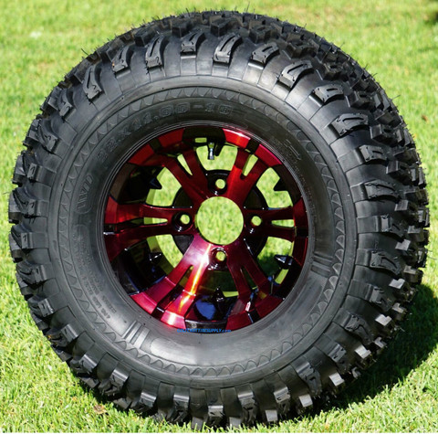 "10"" VAMPIRE Red/Black Wheels and 22"" All Terrain Tires Combo"