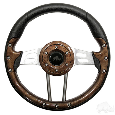"Yamaha 13"" Aviator4 Wood Grain Golf Cart Steering Wheel w/ Aluminum Spokes"