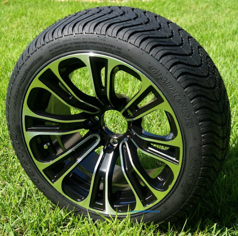 """14"""" VECTOR Aluminum Wheels and DOT Low Profile Tires Combo"""