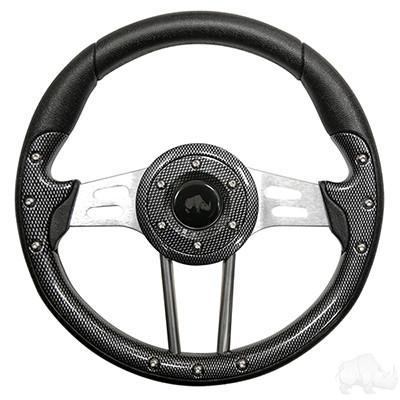 "EZGO 13"" Aviator-4 Carbon Fiber Steering Wheel w/ Aluminum Spokes"