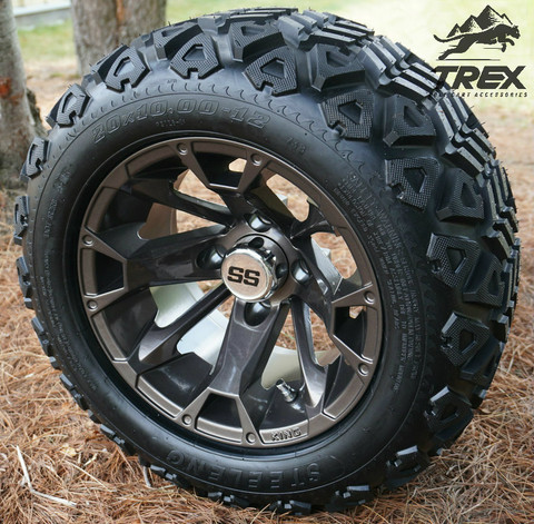 "12"" BLACKJACK BRONZE Metallic Aluminum Wheels and 20x10-12"" DOT All Terrain Tires Combo - Set of 4"
