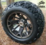 "12"" BLACKJACK BRONZE Metallic Aluminum Wheels and 20x10-12"" DOT All Terrain Tires Combo - Set of 4"