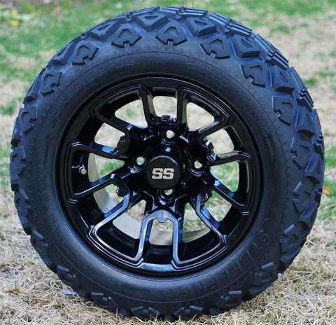 "12"" BLACK LIZARD Aluminum Wheels and 20x10-12"" DOT All Terrain Tires Combo - Set of 4"