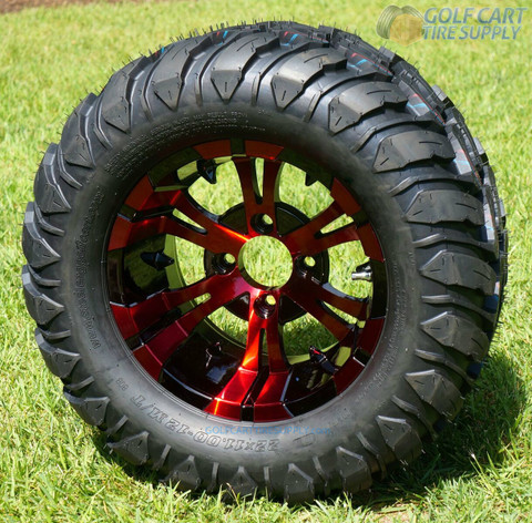 "12"" VAMPIRE Red/ Black Aluminum Wheels and 22x11-12 Crawler All Terrain Tires"