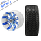 """14"""" TEMPEST Machined/ Anodized Wheels and 205/30-14 Low Profile DOT Tires Combo - WHITE / BLUE"""