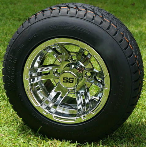 "10"" BULLDOG Chrome Wheels and 205/50-10 Low Profile DOT Tires Combo"