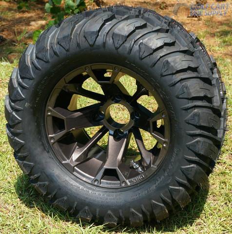 "12"" BLACKJACK Metallic Bronze Aluminum Wheels and 22x11-12 Crawler All Terrain Tires"