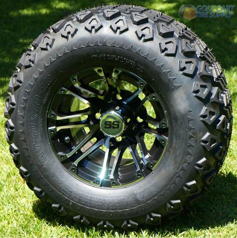 """10"""" LANCER Golf Cart Wheels and 20x10-10 DOT All Terrain Tires"""