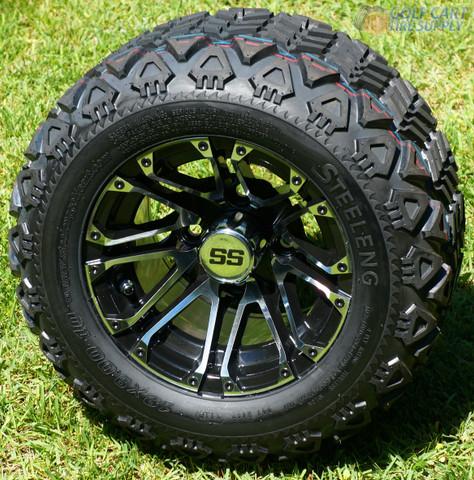 """10"""" LANCER Golf Cart Wheels and 18x9-10 DOT All Terrain Golf Cart Tires Combo"""