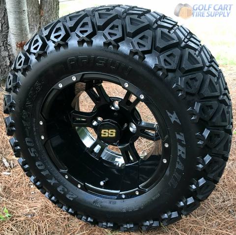 "12"" RUCKUS Gloss BLACK Wheels and 23x10-12"" DOT All Terrain Tires Combo"