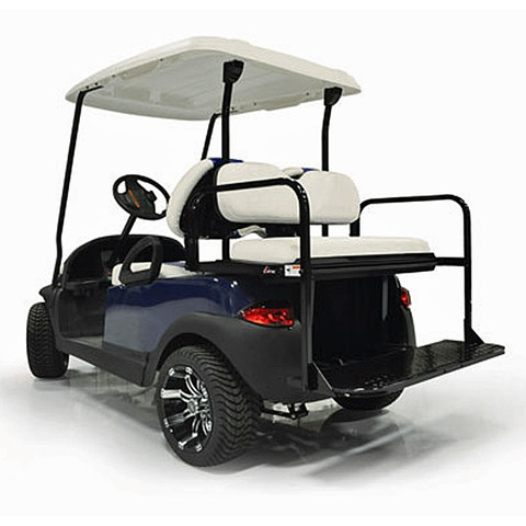 WHITE EZGO TXT Mach 2 GTW Aluminum Golf Cart Rear Seat & Cargo Bed on white and blue golf cart, white go cart, white custom golf cart, white yamaha golf cart, white gas golf cart, white hummer golf cart,