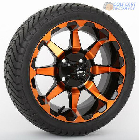 "14"" STI HD6 Radiant ORANGE Wheels & 215/35-14 Tires Combo"