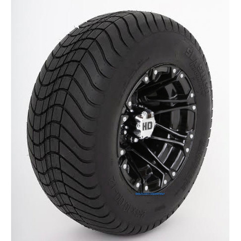 "12"" HD3 Gloss Black Wheels and 23"" DOT Street Tires - Set of 4"