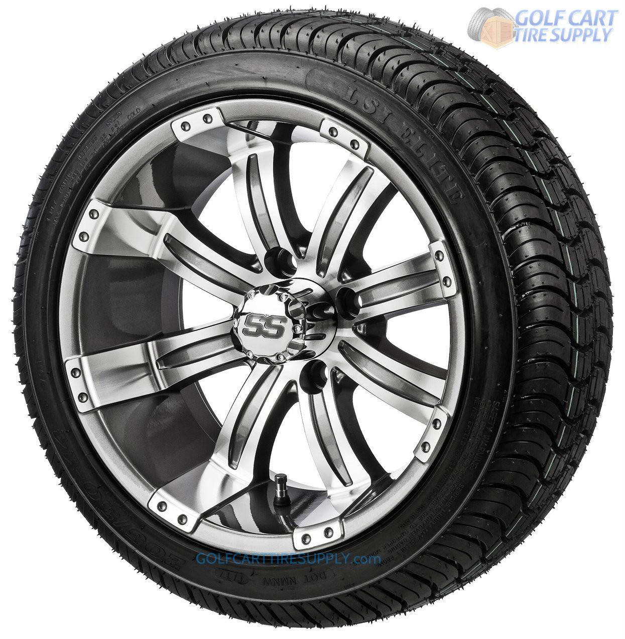 14 Tempest Gunmetal Golf Cart Wheels And 205 30 14 Dot Golf Cart Tires Gcts