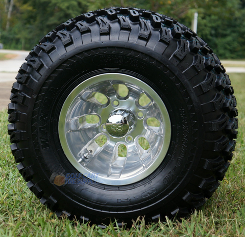 """10"""" SILVER BULLET Wheels and 22"""" All Terrain Tires Combo"""