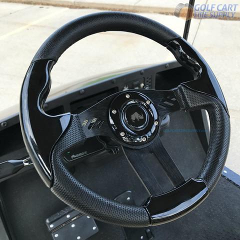 "Club Car DS 13"" Aviator-5 Black Golf Cart Steering Wheel w/ Black Aluminum Spokes"