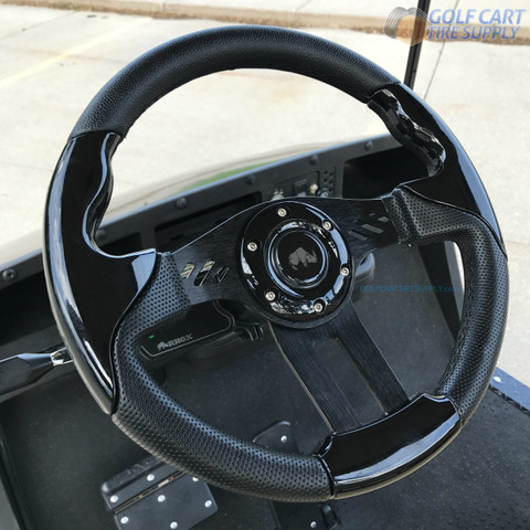 "Yamaha 13"" Aviator-5 Black Golf Cart Steering Wheel w/ Black Aluminum Spokes"
