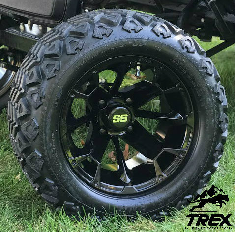 12 Blackjack Gloss Black Golf Cart Wheels And 20x10 12 Dot All Terrain Golf Cart Tires Combo For Non Lifted Carts Gcts