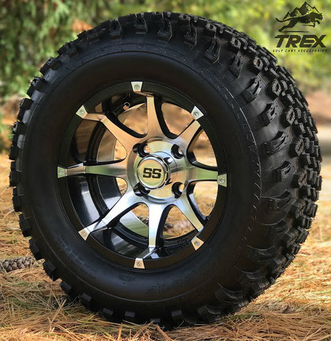 "12"" TREX BANSHEE Machined/ Black Aluminum wheels and 23"" All terrain tires combo"