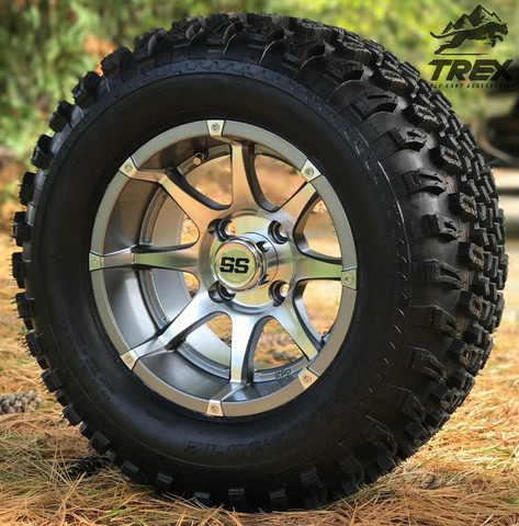 "12"" BANSHEE Gunmetal/ Machined Aluminum wheels and 23"" All terrain tires combo"