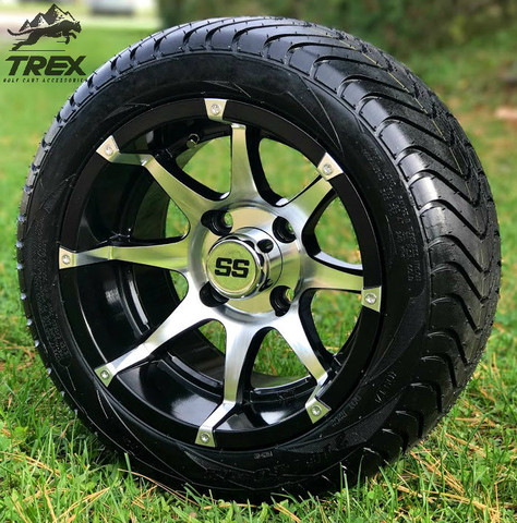 """12"""" BANSHEE Machined/Black Wheels and Low Profile Golf Cart Tires"""